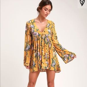 Free People Bella Golden Yellow Floral Print Tunic